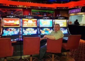 David Smith, General Manager at Ambassador Casino & Hotel in Suriname with the new APEX gaming Pinnacle SL slots-1