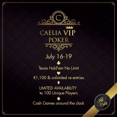 "PokerFest și Caelia anunță ""Caelia Beach Vip Poker Tournament"", cel mai exclusivist turneu de poker al anului"