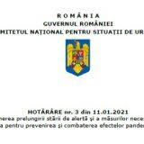 A fost emisa HOTĂRÂREA nr. 3 din 11.01.2021 privind propunerea prelungirii stării de alertă