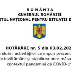 (Română) Conform HCNSU nr. 5 din 3.02.2021 se propune elaborarea unui act normativ prin care sa poata fi suspendata activitatea agentilor economici care nu respecta masurile de prevenire si combatere a COVID-19
