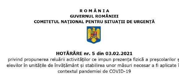 Conform HCNSU nr. 5 din 3.02.2021 se propune elaborarea unui act normativ prin care sa poata fi suspendata activitatea agentilor economici care nu respecta masurile de prevenire si combatere a COVID-19